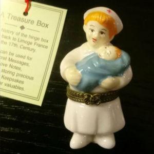 Nurse with Baby Boy Hinged Trinket Treasure Box